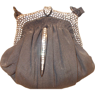 Beautiful Art Deco 1920's French handbag with a Bakelite and rhinestone frame