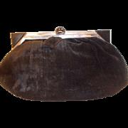 Super Art Deco black pan velvet bag with chrome and Bakelite frame