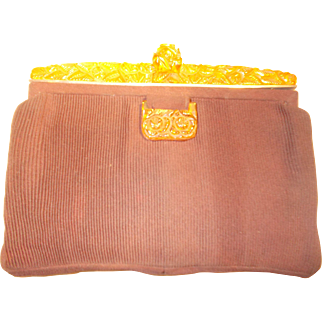 Stunning Art Deco 1930's French Bakelite carved top clutch purse