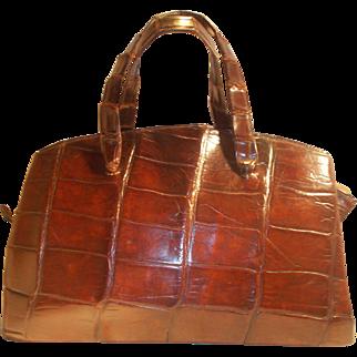Fantastic large 1930's original glossy crocodile skin handbag