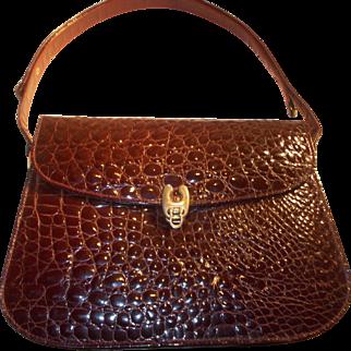 Stunning vintage 1960's Italian crocodile skin burgundy shoulder bag