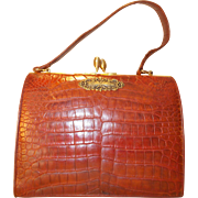 Vintage red/brown crocodile 1950's box handbag