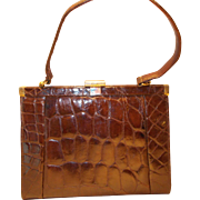 Lovely vintage 1950's crocodile handbag super glossy skins