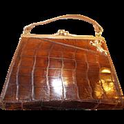 Vintage Art Deco 1930's crocodile handbag chrome frame silver cherub