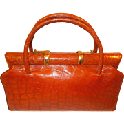 Vintage 1930's honey colored crocodile handbag