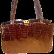 vintage Lesco signed alligator belly skin handbag 1950's