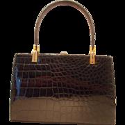 Beautiful 1950's large glossy black French crocodile skin handbag
