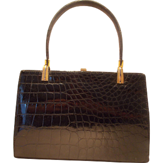 Beautiful 1950's large glossy black French crocodile skin handbag