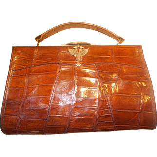 Vintage Art Deco crocodile skin handbag with Egyptian figures