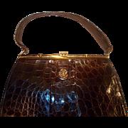 Vintage 1950's glossy French crocodile skin handbag with lady