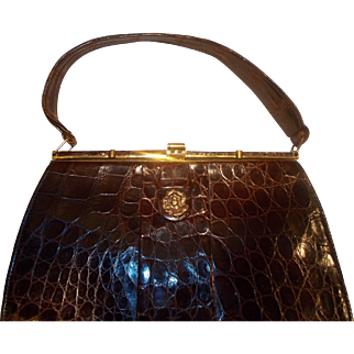 Vintage 1950's glossy French crocodile skin handbag with lady