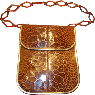 Rare 1960's Turtle skin handbag with Lucite shoulder chain