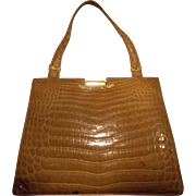 Stunning vintage 1950's pale caramel vintage French alligator skin handbag