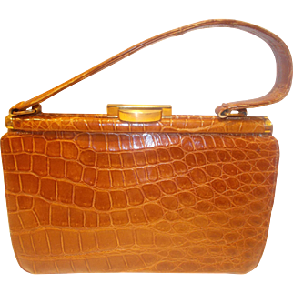 Lovely vintage 1950's honey colored crocodile skin handbag