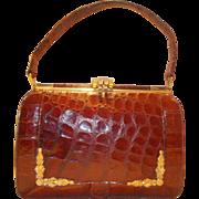 Rare open front vintage crocodile handbag vintage 1950's