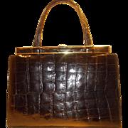 Stunning  vintage HUGE 1950'S glossy black crocodile handbag never been used perfect