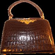 Beautiful 1940's Henri glossy black crocodile handbag