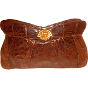 Amazing original large 1940's vintage crocodile clutch handbag