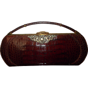 vintage Signed  Deitsch. alligator handbag American, c 1953.
