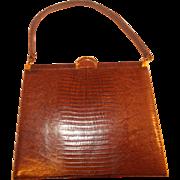 Beautiful vintage 1950's brown lizard skin Bellestone handbag