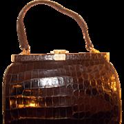 original 1940's French vintage black crocodile skin handbag with rhinestone top
