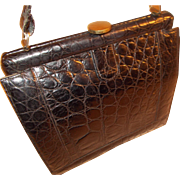 1940's French vintage black crocodile skin handbag