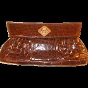 Stunning 1940's huge very rare glossy crocodile clutch handbag
