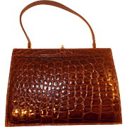 Beautiful French vintage 1940's glossy brown alligator structured handbag