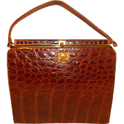 Extra large vintage Sydney of California alligator skin handbag with brass dog