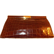 Beautiful vintage 1940's crocodile /alligator skin clutch bag