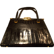 Amazing huge vintage 1950's alligator skin handbag glossy black