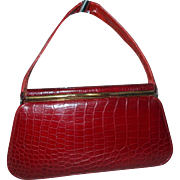 Beautiful vintage red alligator 1940's oblong box handbag