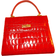 Vintage red alligator leather Berkin style handbag