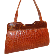 Fantastic 1950's vintage toffee colored crocodile handbag with Lucite frame