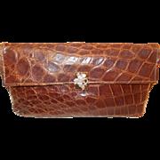 Lovely vintage Art deco Gaber bag 1930's crocodile clutch bag with cherub clasp