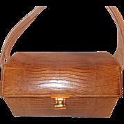 Super vintage 1950's honey colored Palizzio lizard skin box bag