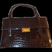 Stunning vintage 1950's glossy black crocodile skin Bellestone handbag