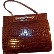 Vintage 1940's huge Alligator handbag stunning toffee color