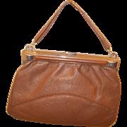 Art Deco 1930's leather handbag with chrome detail and frame