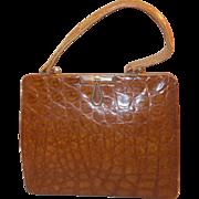 Vintage 1960's honey colored English crocodile skin handbag