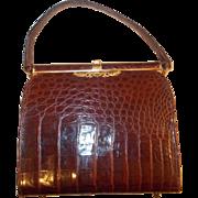 Beautiful vintage French burgundy /brown crocodile skin handbag