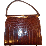 Beautiful vintage French burgundy /brown crocodile skin handbag