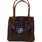 Beautiful vintage 1940's  super glossy alligator handbag in super condition