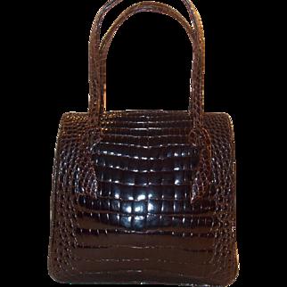 Beautiful vintage 1940's  super glossy alligator handbag in super condition