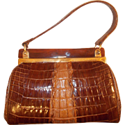 Stunning vintage 1950's crocodile handbag in amazing condition with Lucite frame
