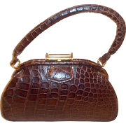 Beautiful vintage French  alligator 1940's handbag