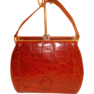 Vintage 1940's toffee colored front flap crocodile handbag