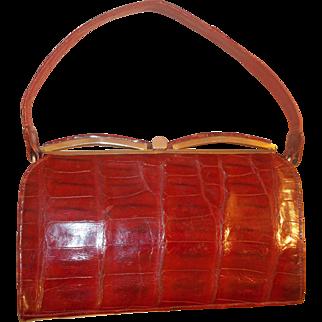 Vintage late 40's glossy red crocodile skin handbag