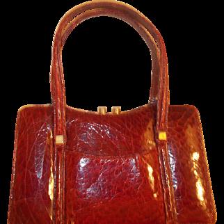 1940's Vintage red turtle skin handbag perfect condition