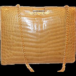 Vintage 1960's French cream crocodile /alligator skin handbag